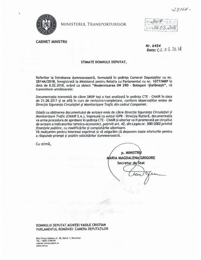 adresa Ministerul Transporturilor, stiri, Botosani, DRDP