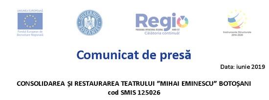 antet Consolidarea si restaurarea Teatrului Mihai Eminescu Botosani