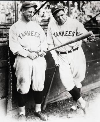 Archival photo of Lou Gehrig & Babe Ruth