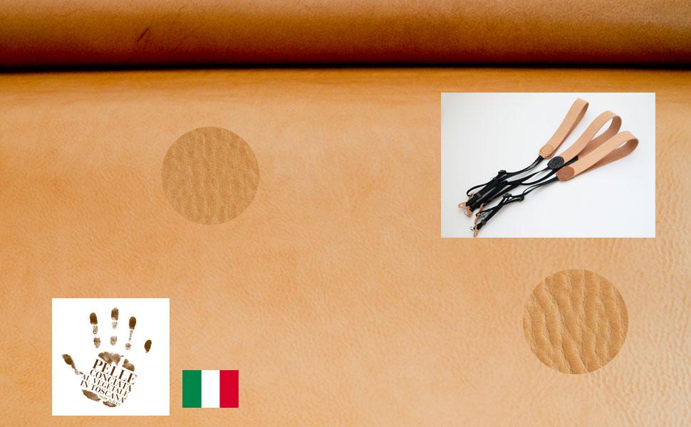 イタリアンレザーを使った革のカメラストラップ