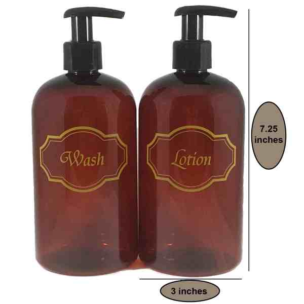 Amber soap and lotion bottles w dimensions