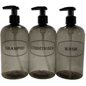Gray shampoo, conditioner, wash bottles w black print and black pumps