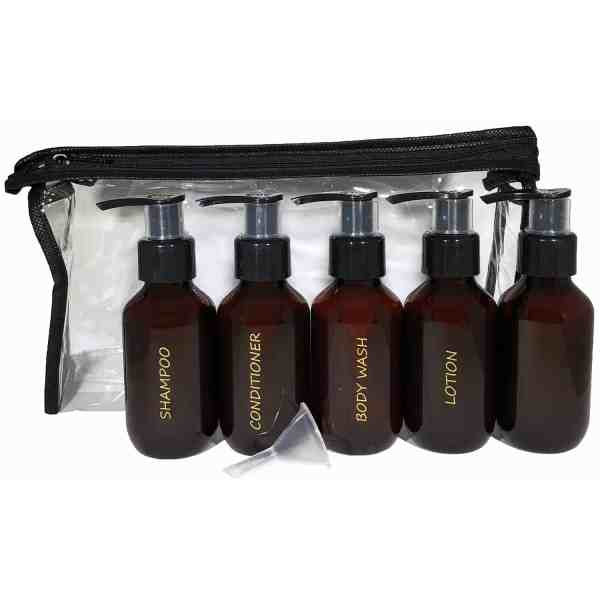 Amber travel set w clear zippered travel toiletry bag and mini funnel