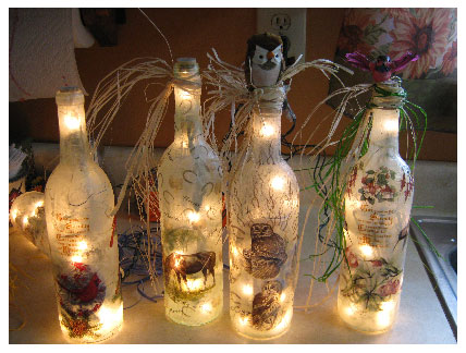 Lighted Wine Bottles with Mulberry Paper & Hummingbird Bottle with Lights flowers and decorations | How To ... azcodes.com