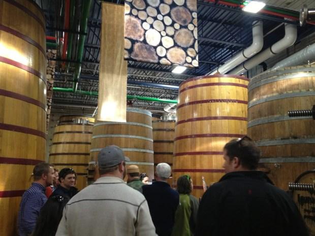New Belgium barrel room
