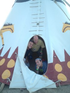 Teepee Time, with Geoff, Jeff and Jess.