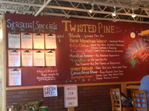 The menu at Twisted Pine
