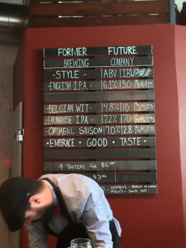 Former Future Brewing Company Menu