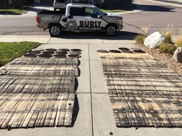 Wood that will soon become part of the decor in Burly Brewing Company. Look for Burly Brewing Co to open in Castle Rock in early 2018 | BottleMakesThree.com