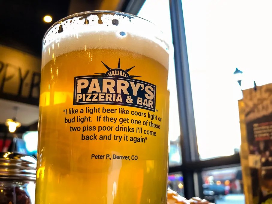 Craft beer rules at Parry's Pizza. Their location at The Streets of SouthGlenn features 100 beers on tap.