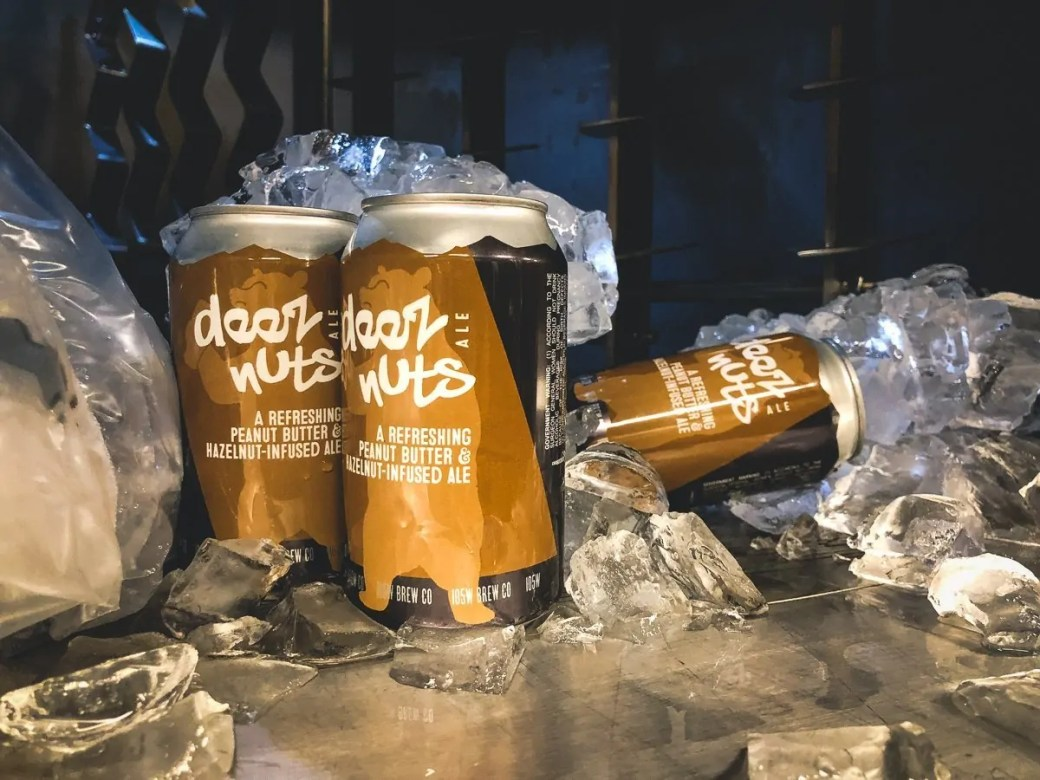 Deez Nuts, a peanut butter and hazelnut infused favorite at 105 West Brewing Company, Castle Rock, CO. Now available in cans.