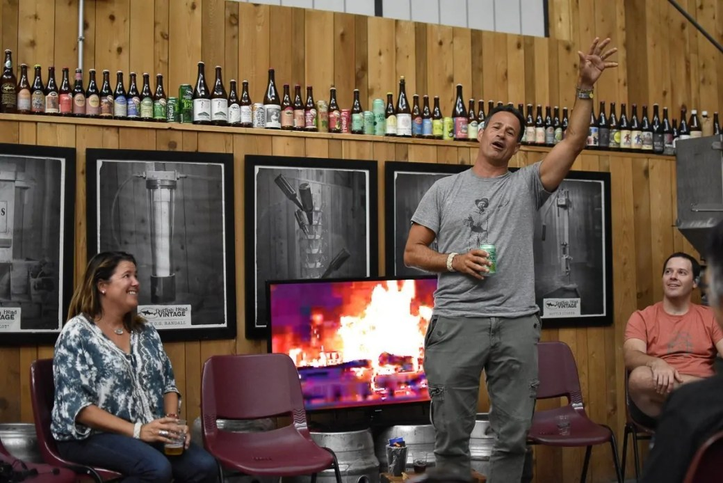 A fireside chat with Sam and Mariah Calagione at the Dogfish Head Brewery in Milton, Delaware. Part of the Beer Now Conference excursion, 2018.