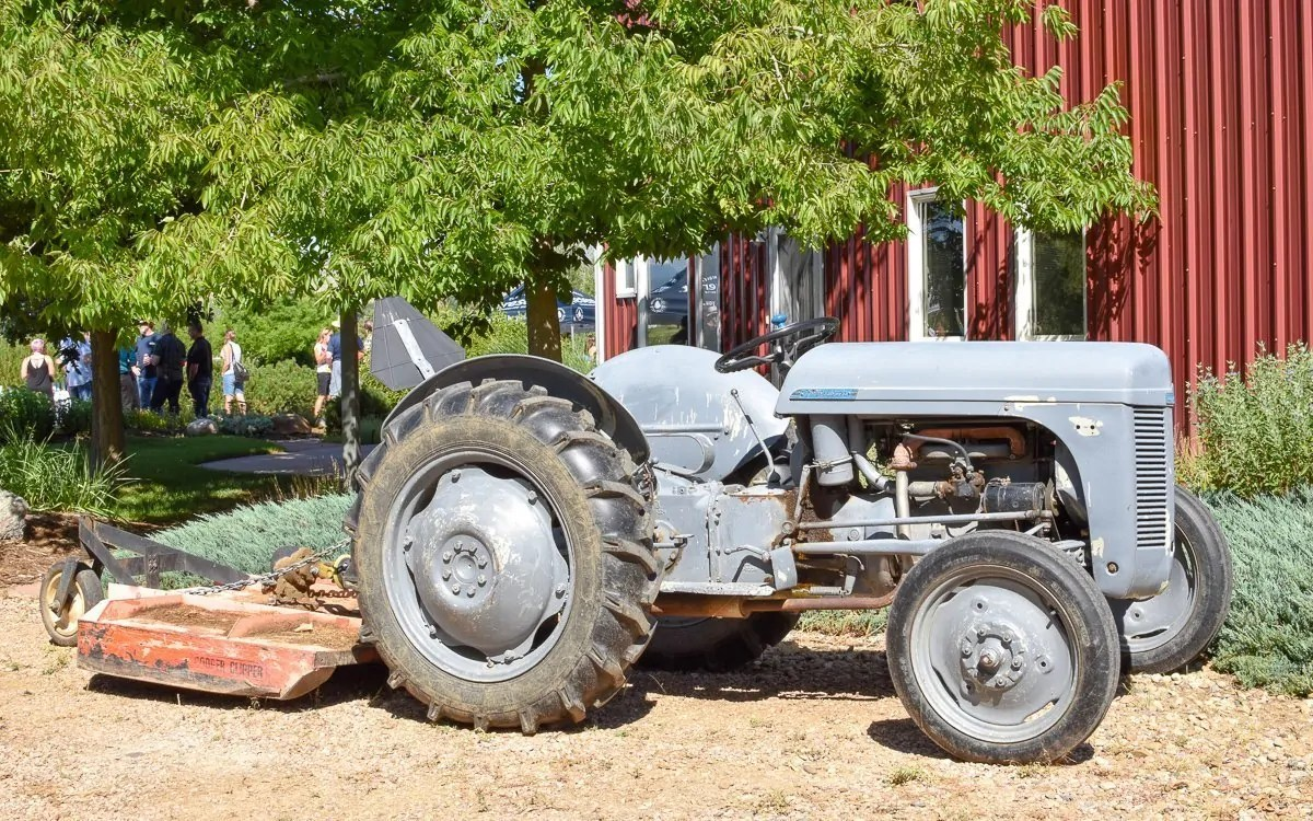 A tractor used at the WAABY Organic hemp farm in Colorado
