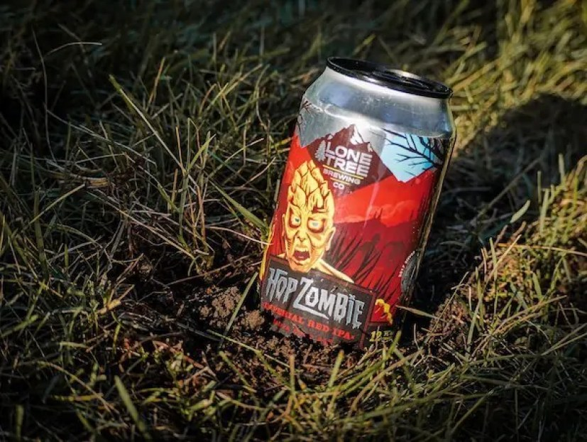 Hop Zombie Imperial Red IPA from Lone Tree Brewing Co, Lone Tree, Colorado. Available annually on Hop Zombie Day.