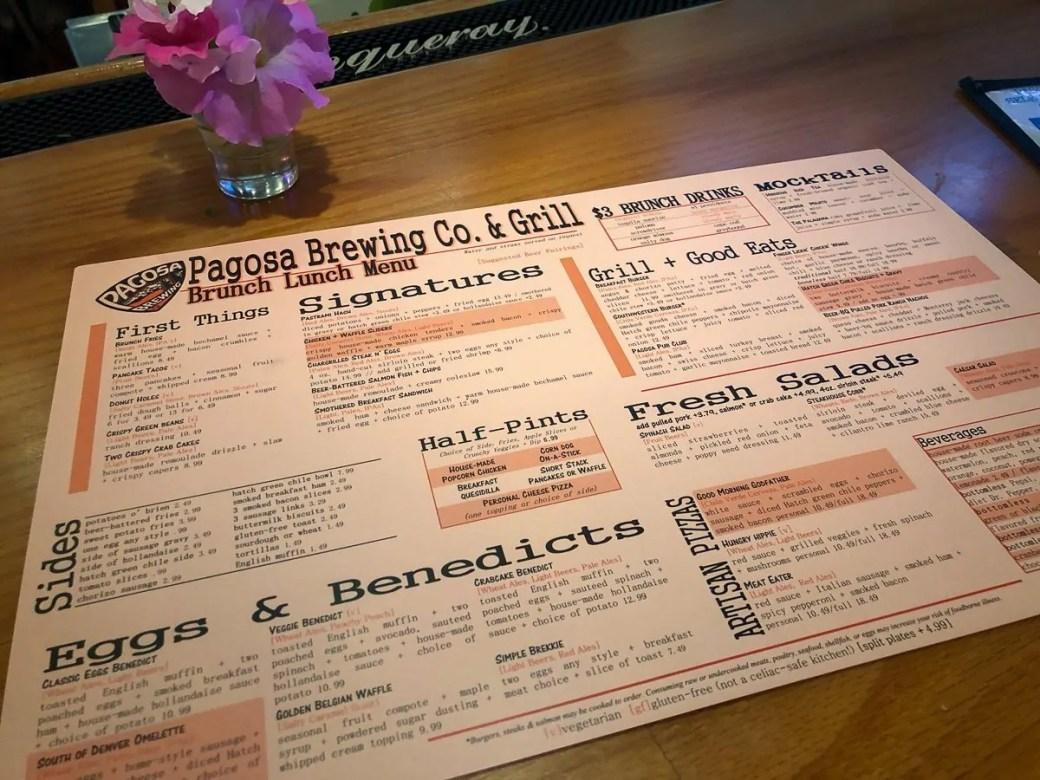 The brunch/lunch menu at Pagosa Brewing Company, Pagosa Springs, Colorado