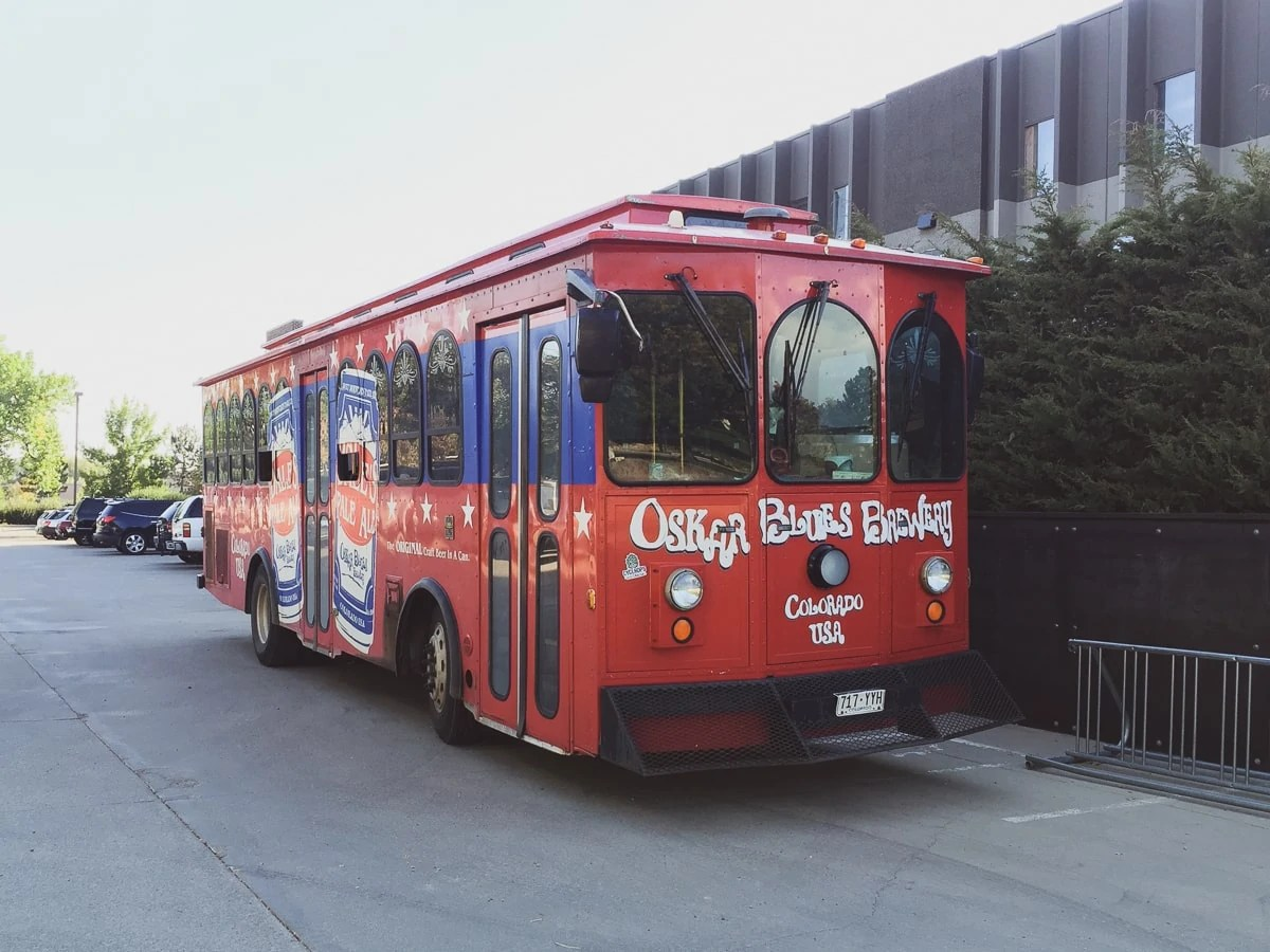 the trolly at Oskar Blues Brewery's Tasty Weasel taproom in Longmont, Colorado