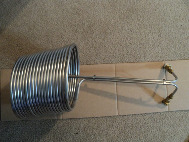 stainless steel wort chiller side view