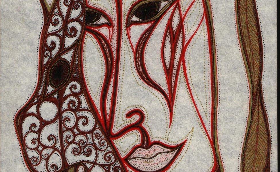 Egy vörös-barna színű grafika. Egy sámán arca mellett a segítő állatai is látszanak: jaguár, szarvas , és egy madár.