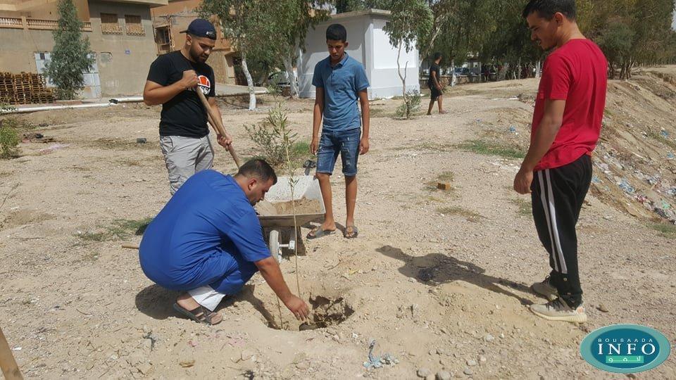 فيديو .. شباب حي لكدات يقومون بنظافة وطلاء أشجار طريق الكورنيش