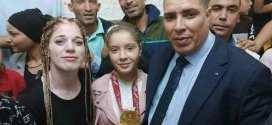 استقبال البطلة العالمية شيرين عبد اللاوي بمسقط رأسها