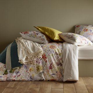 linge de lit uni brode ou a motifs