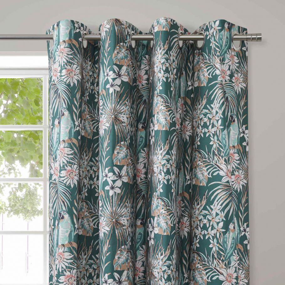 rideau imprime perroquet et fleurs en coton vert