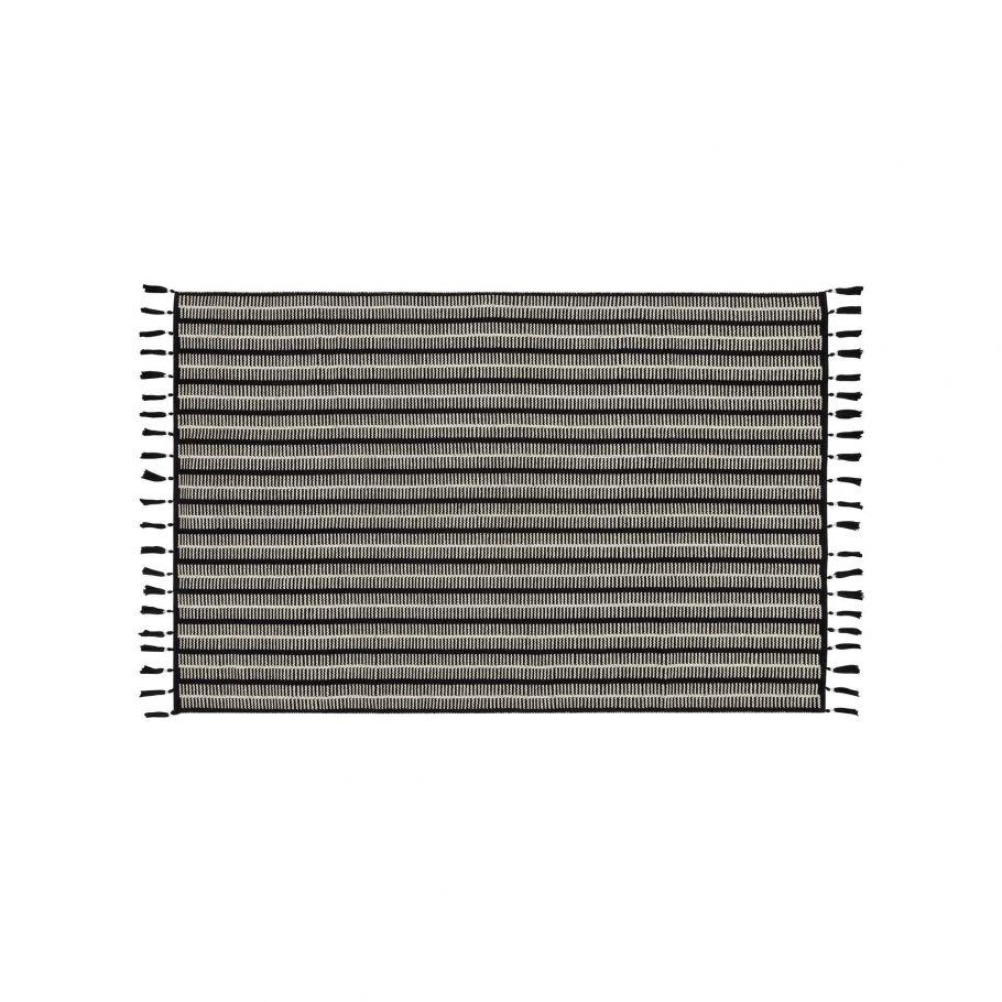 grand tapis strie en coton a pompons