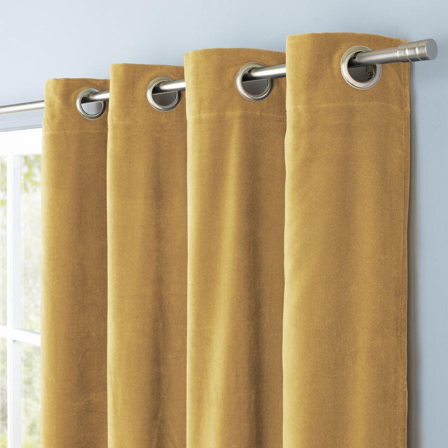rideau uni en velours de coton double jaune ocre