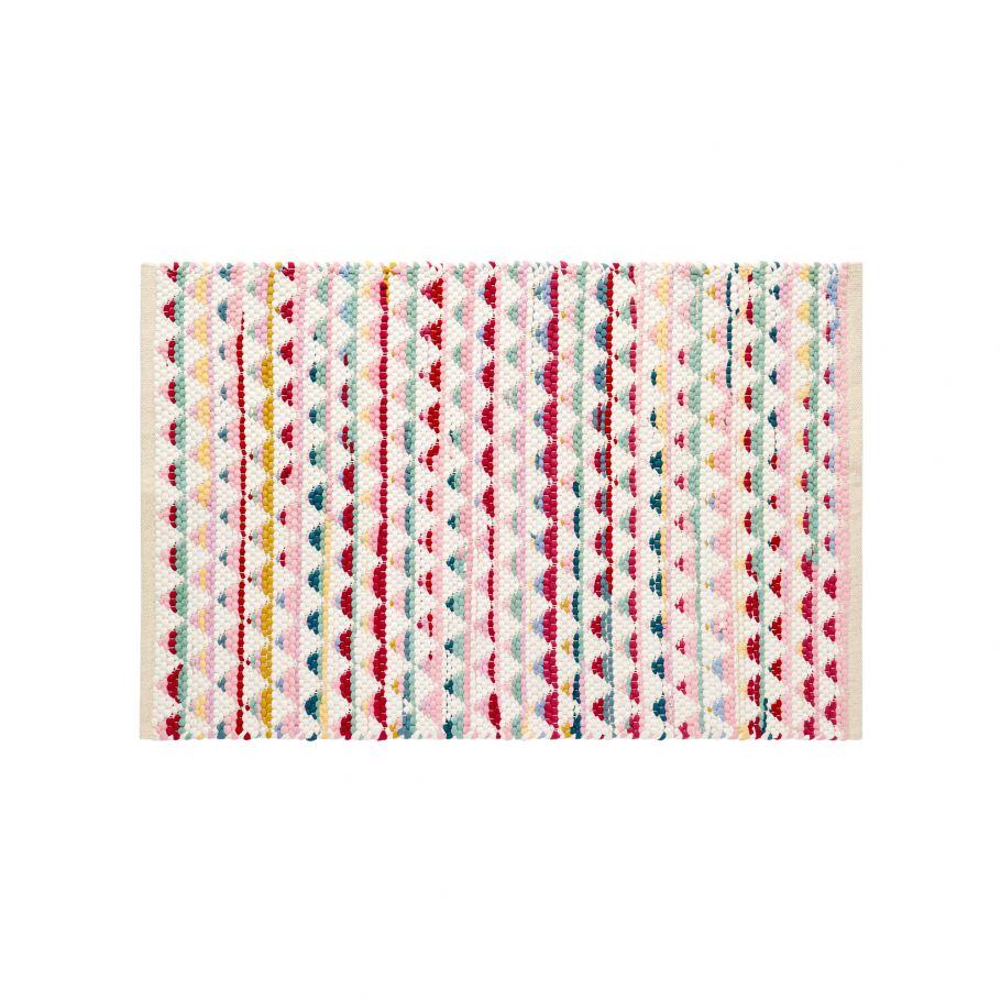 tapis tisse en coton multicolore multicolore
