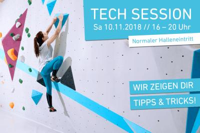 Tech Session am 10. November 2018 in der Boulderwelt Frankfurt