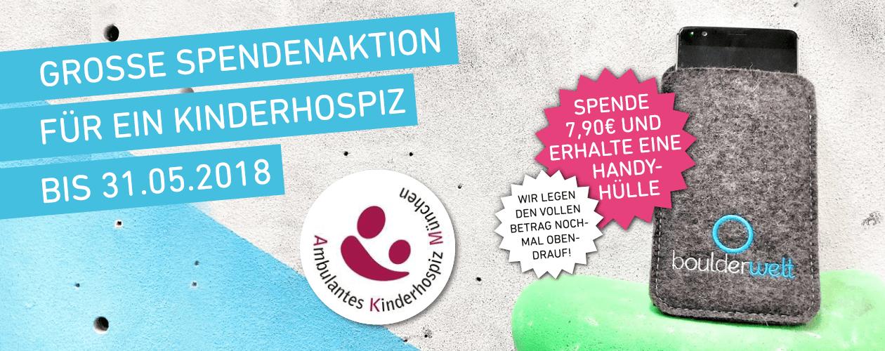 Spende 7,90€ für das ambulante Kinderhospiz München und erhalte eine Boulderwelt Handyhülle!