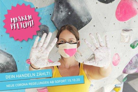 Neue Corona Regelungen ab 15.10.20 in der Boulderwelt München Ost. Dazu gehören eine erweiterte Maskenpflicht, und eine Sperrstunde im Café ab 22 Uhr.