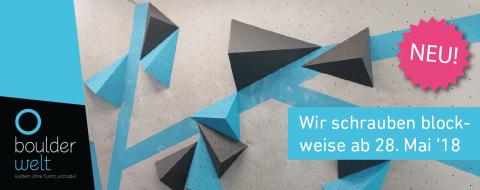 Ab dem 28. Mai 2018 passt die Boulderwelt München West ihr Umschraubsystem im Parcoursbereich an.