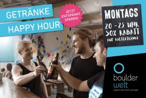 Ab sofort jeden Montag zwischen 20 und 23 Uhr Happy Hour im Boulderwelt Bistro - 50% Rabatt auf alle Kaltgetränke!