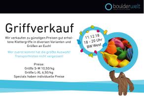Am 11.12.18 findet in der Boulderwelt München West unser Griffverkauf statt.