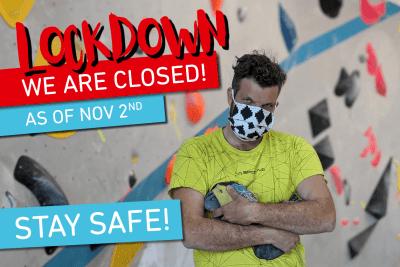 Vorläufige Schließung der Boulderwelt augrund des zweiten Corona Lockdowns ab Montag 2.11.10.
