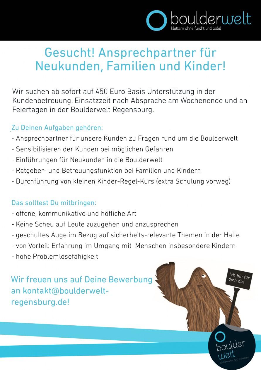 Stellenausschreibung Kundenbetreuung Boulderwelt Regensburg