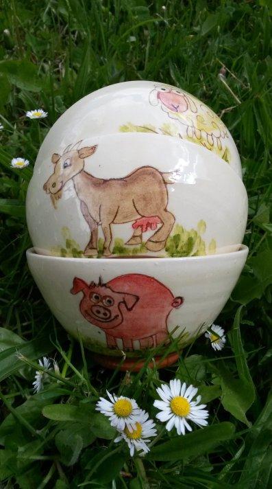 Bol animaux Mouton Chèvre Cochon