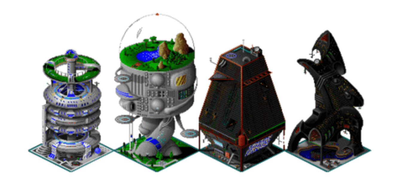 Figure 6: An array of arcologies for players to build, as depicted in the video game SimCity 2000, released in 1993 by game publisher Maxis. http://simcity.wikia.com/wiki/Arcology