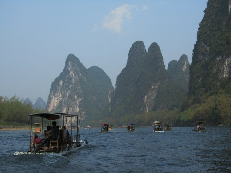 Hiking Along the Li River - Yangshuo - Boats with Karst Peaks
