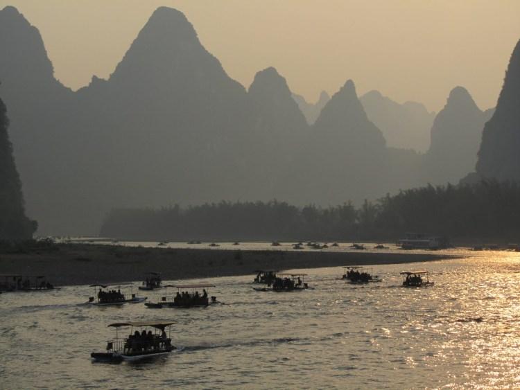 Hiking Along the Li River - Yangshuo - Sunset with Boats