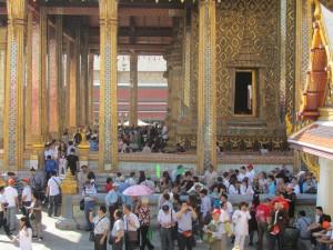 Large crowd at Grand Palace in Bangkok, Thailand