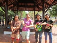 Ligeia learning Krabi Krabong martial arts in Ayuthaya, Thailand