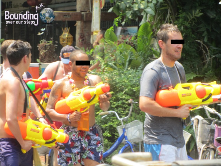 Super soaker water guns ready for use during Songkran in Chiang Mai, Thailand