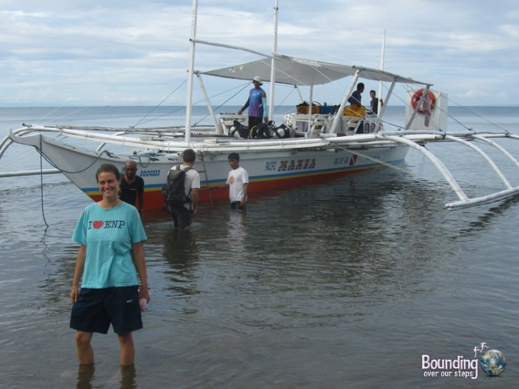 Ligeia getting ready for scuba diving in Donsol, Philippines