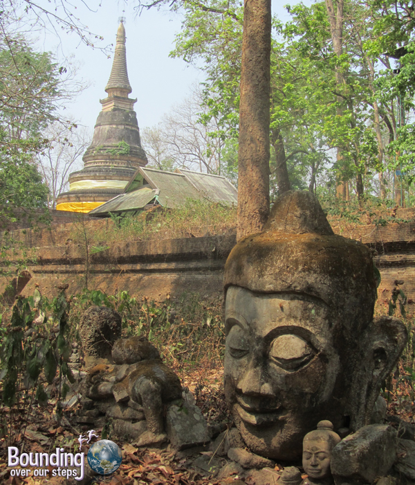 The ancient Buddha statues at Wat Umong in Chiang Mai, Thailand