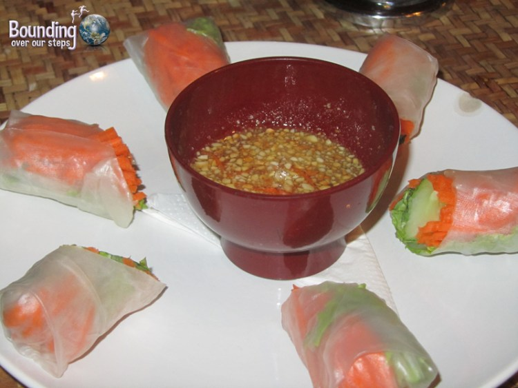 Delicious fresh rolls at Peace Cafe Vegetarian Restaurant in Siem Reap
