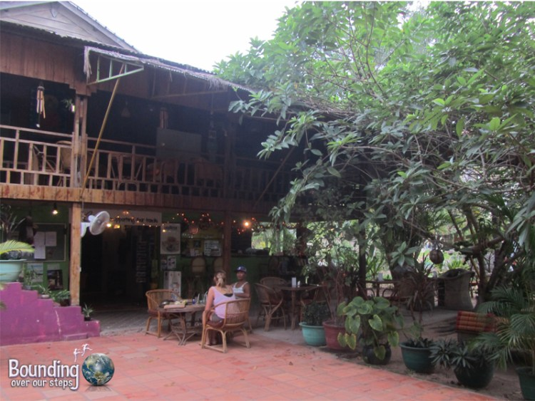 Peaceful garden at the Peace Cafe Vegetarian Restaurant in Siem Reap