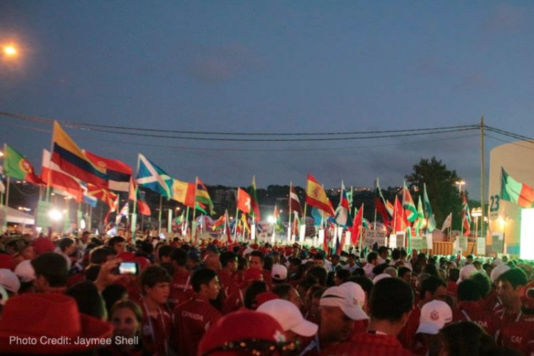 In the parking lot at the Opening Ceremonies of the Maccabiah Games with flags from all over the world