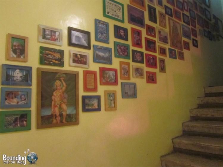 Gorgeous framed photos in the stairwell of 24 Rupee, a vegetarian restaurant in Tel Aviv